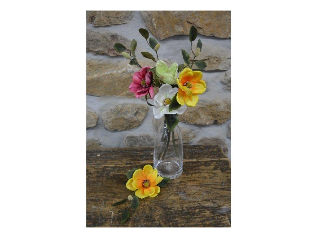 CERINO Umělá květina Magnolie větev 50cm žlutá 1květ