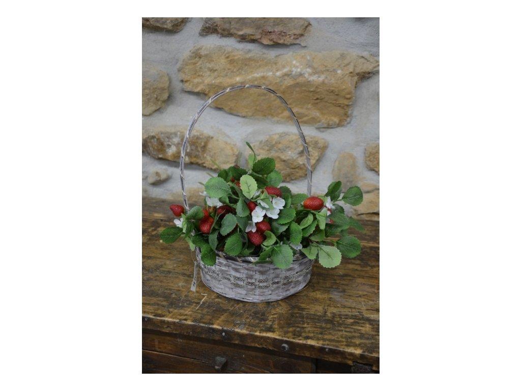 CERINO Umělá květina Jahodník 60cm 4 plody