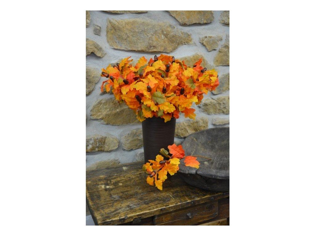 Cerino podzimní větvička ŽALUD 3 PLODY délka 65 cm oranžová