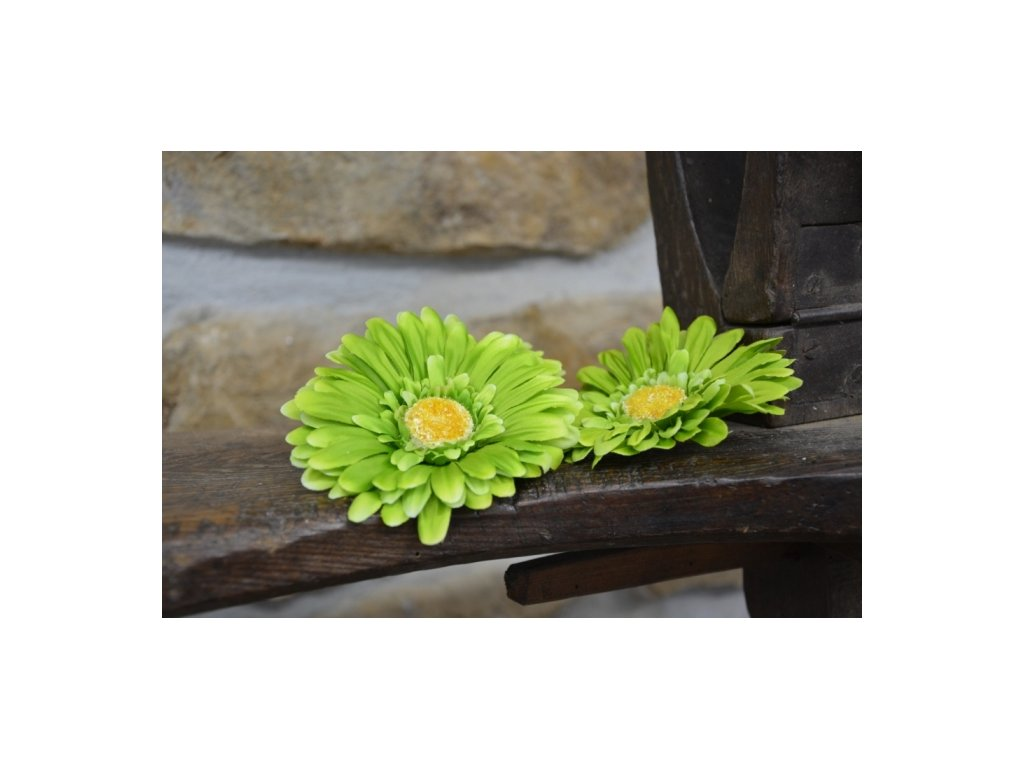 CERINO Umělá květina Květ GERBERA 11cm zelená