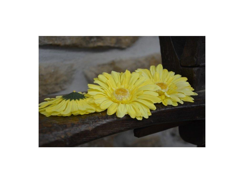 CERINO Umělá květina Květ GERBERA 11cm žlutá zářivá