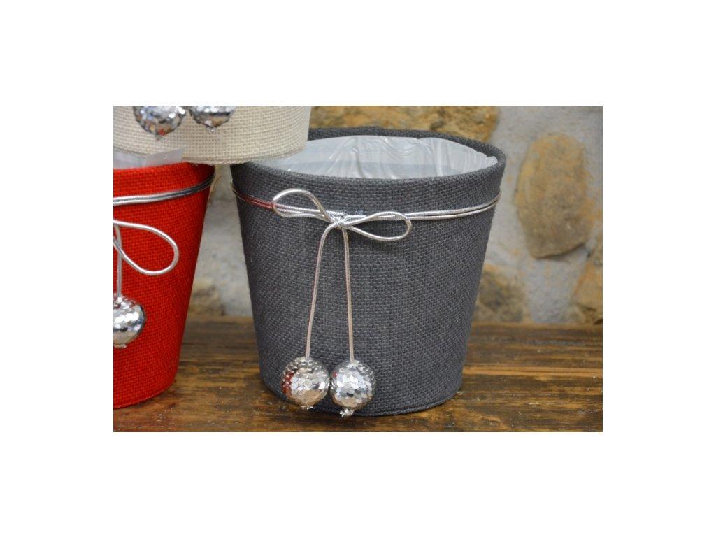 Cerino květináč vánoční juta kulatý 17cm výška, průměr 19 šedý/stříbrný lem