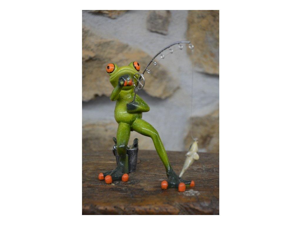 Cerino figurka žába RYBÁŘ 15 x 15 cm