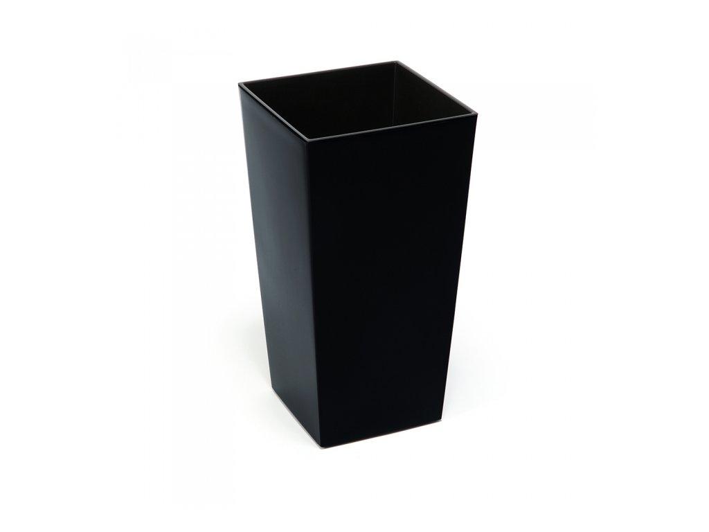 Lamela plastový květináč FINEZIA hladká 250x250 výška 46cm černá