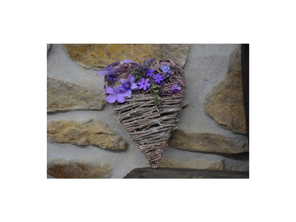 Cerino Proutěné srdce na zavěšení Fialový květ 27 x 18 cm