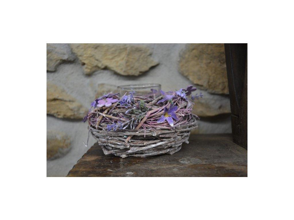 Cerino Proutěný svícen fialový květ 16cm (na svíčku sklenice 7cm)