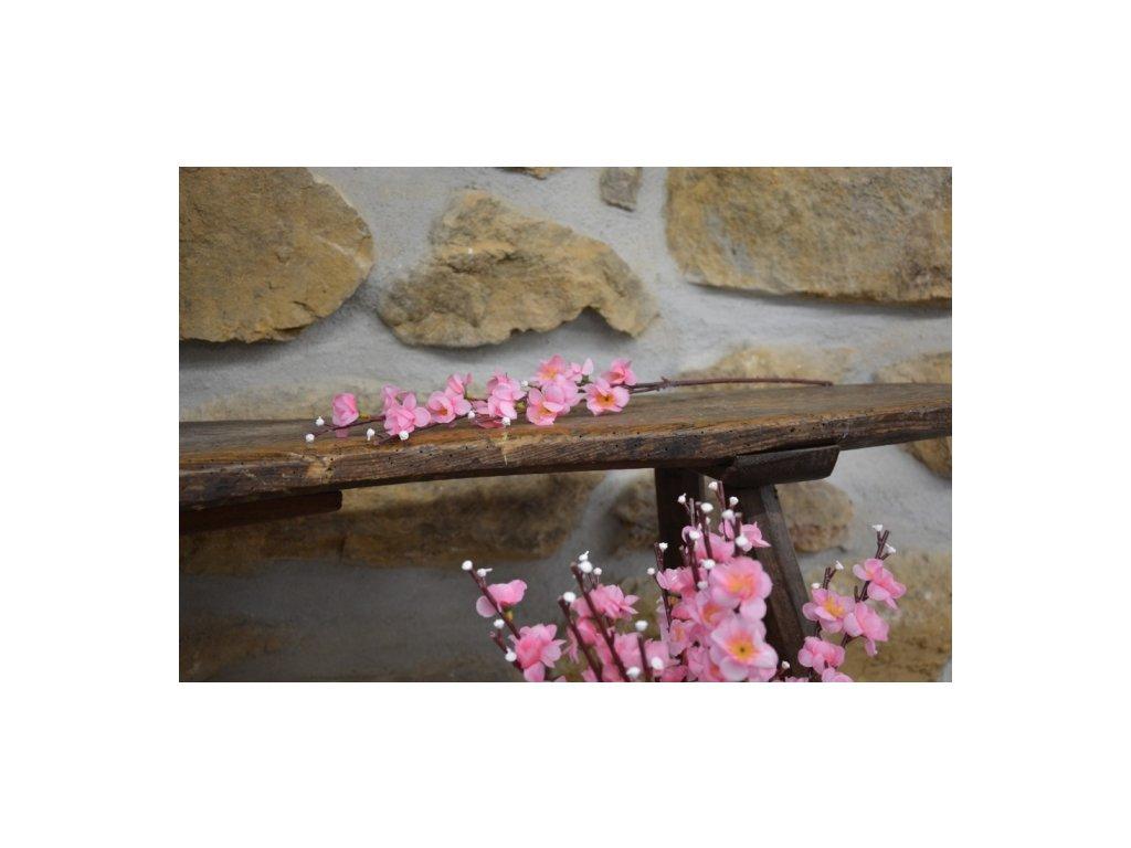 Cerino Umělá větvička jabloň růžový květ 50cm