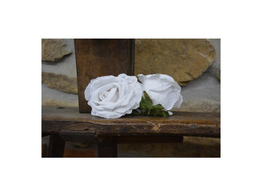 CERINO Umělá květina Květ růže aranžovací 10cm bílý
