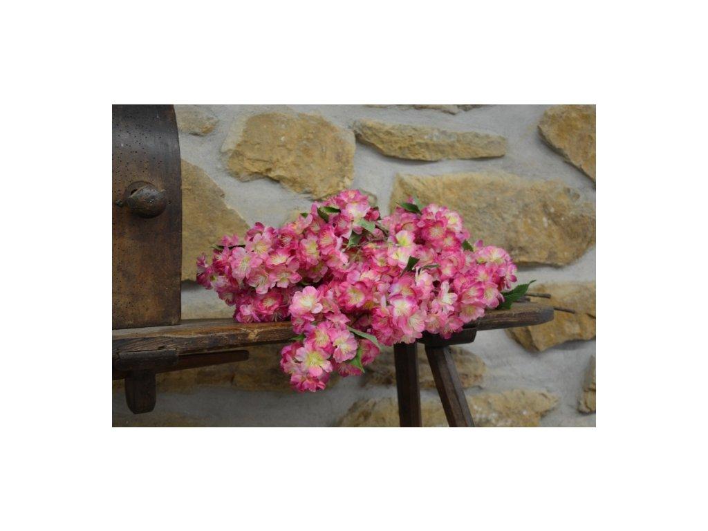 Cerino umělá větvička třešňový květ 65cm růžový