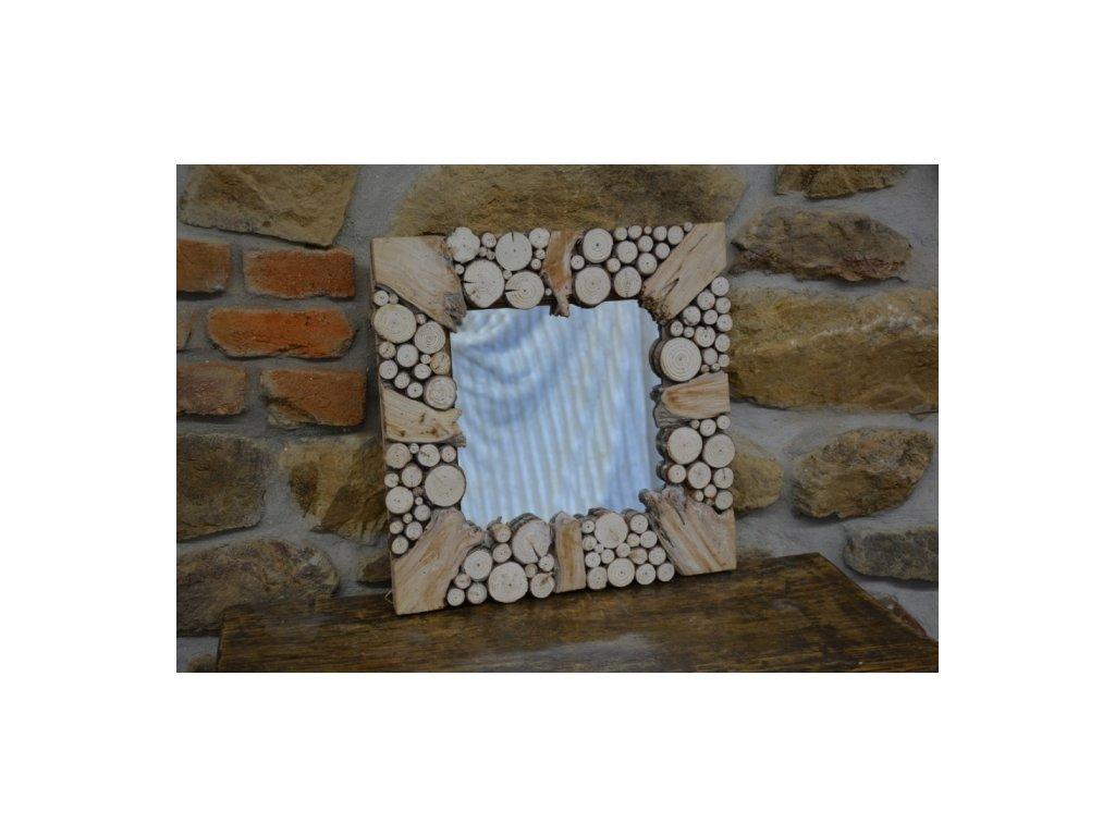 Cerino zrcadlo dřevěný rám 48x3x48