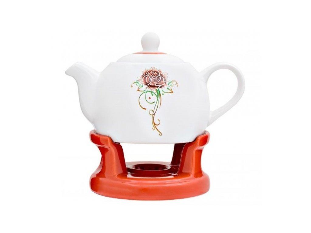 SEMPRO Čajová konvička s ohřevem, 1L červená růže