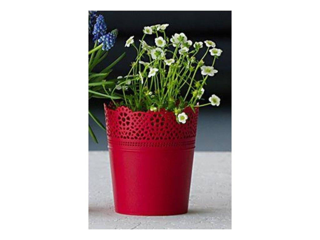SEMPRO květináč Lace, DLAC 180 výška 21cm červená malina