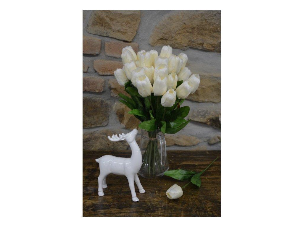 CERINO Umělá květina Tulipán 42cm - bílý 1ks