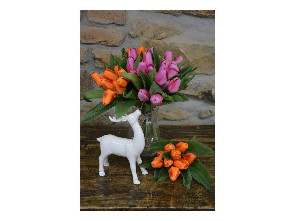 CERINO Umělá květina Tulipán kytice - 9 květů - 32 cm oranžový 1ks