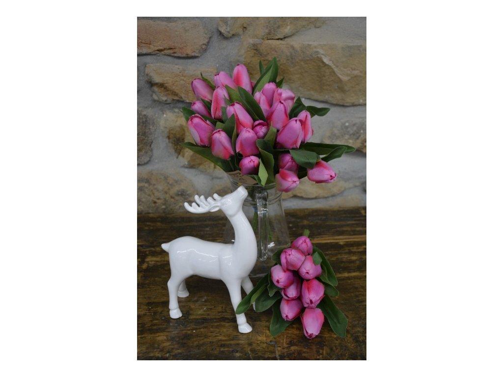 CERINO Umělá květina Tulipán kytice - 9 květů - 32 cm růžový 1ks