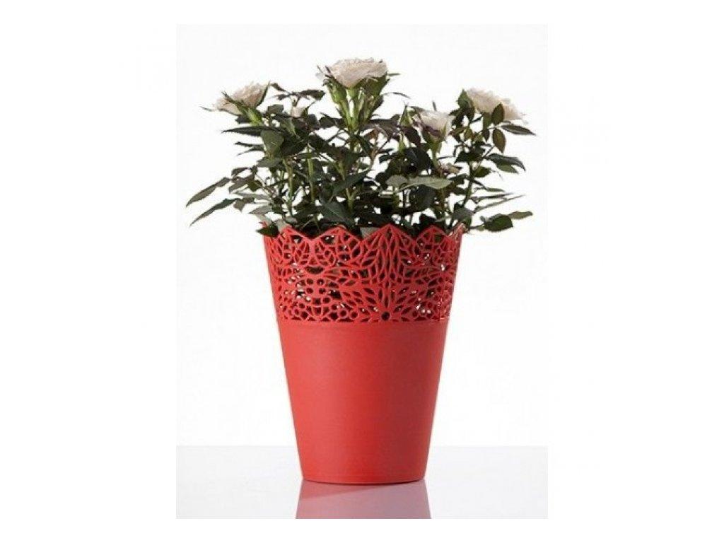 SEMPRO květináč Corona 14cm, výška 18cm červená