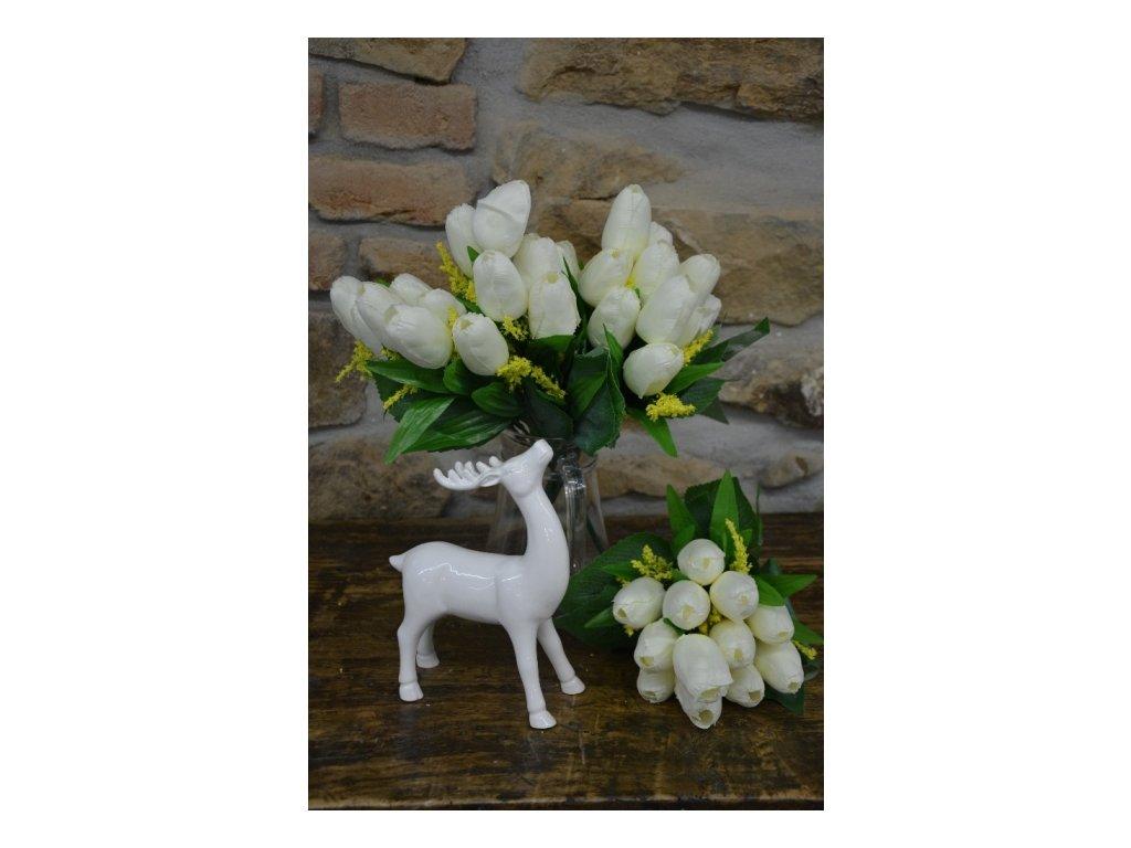 CERINO Umělá květina Tulipán kytice 40cm - 12 květů bílá 1ks
