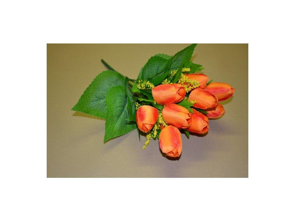 CERINO Umělá květina Tulipán kytice 40cm - 12 květů oranžová 1ks