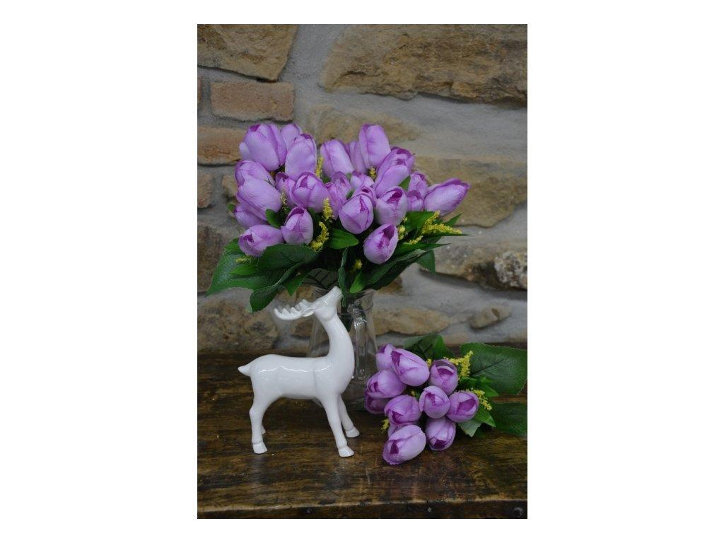 CERINO Umělá květina Tulipán kytice 40cm - 12 květů fialová 1ks