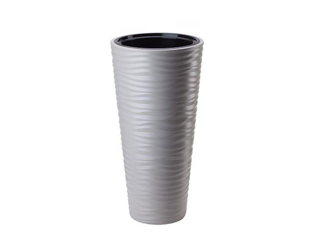 FORM Plastic Květináč Sahara slim mrazuvzdorný, 30cm x výška 55cm, světle šedý