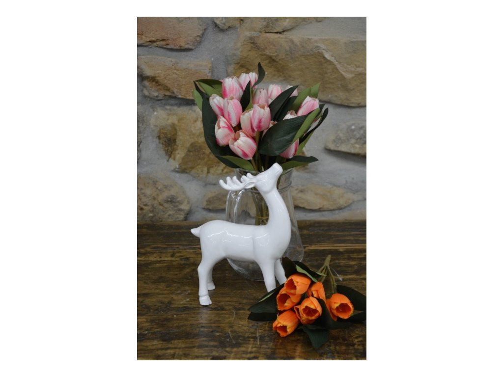 CERINO Umělá květina Tulipán kytice 7 květů - 50cm růžová 1ks