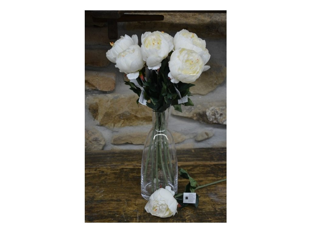 CERINO Umělá květina Pivoňka 48cm - bílá 1ks