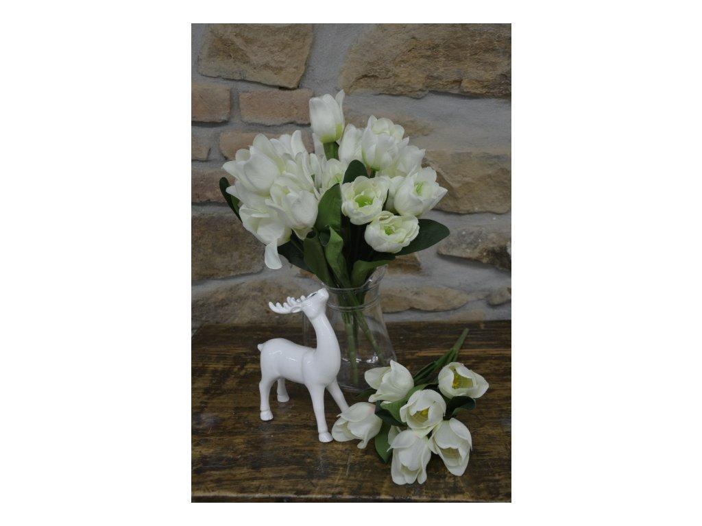 CERINO Umělá květina Tulipán kytice 7 květů - 50 cm bílá 1ks