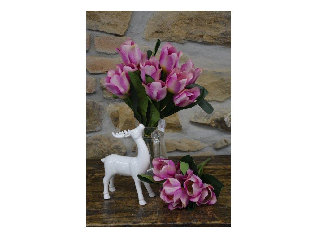 CERINO Umělá květina Tulipán kytice 7 květů - 50 cm fialová 1ks