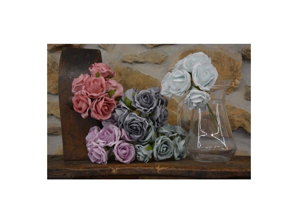 CERINO Umělá květina Růžičky svatební pěnové 6ks 25cm bílá s modrým nádechem