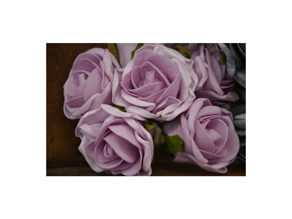 CERINO Umělá květina Růžičky svatební pěnové 6ks 25cm fialová