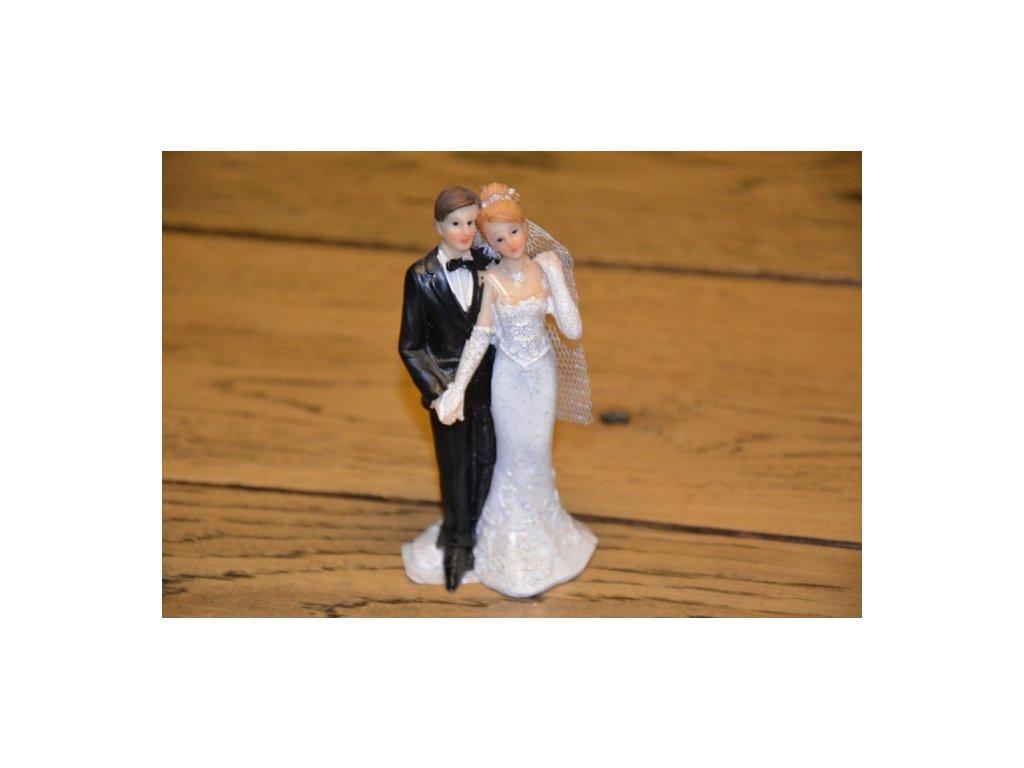 CERINO Figurka svatební pár 12cm úzké šaty černá a bílá