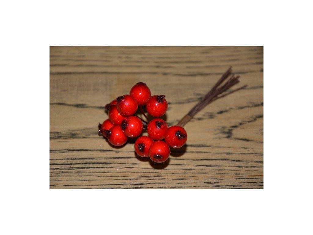 CERINO Umělá větvička dekorační bobule svazek 10cm červené 1ks