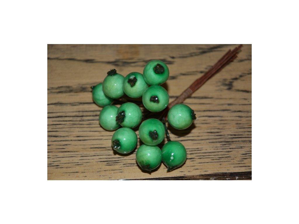 CERINO Umělá větvička dekorační bobule svazek 11cm zelené 1ks