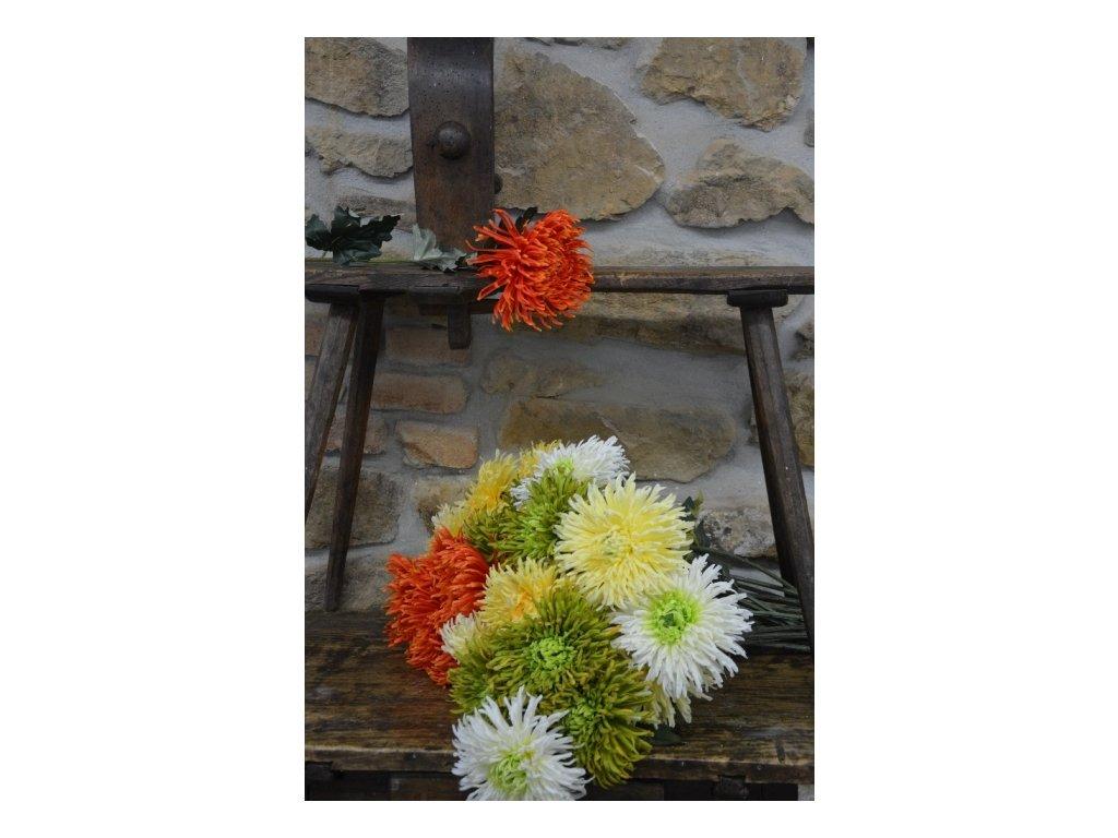 CERINO Umělá květina Chryzantéma velkokvětá 73cm žlutá 1ks