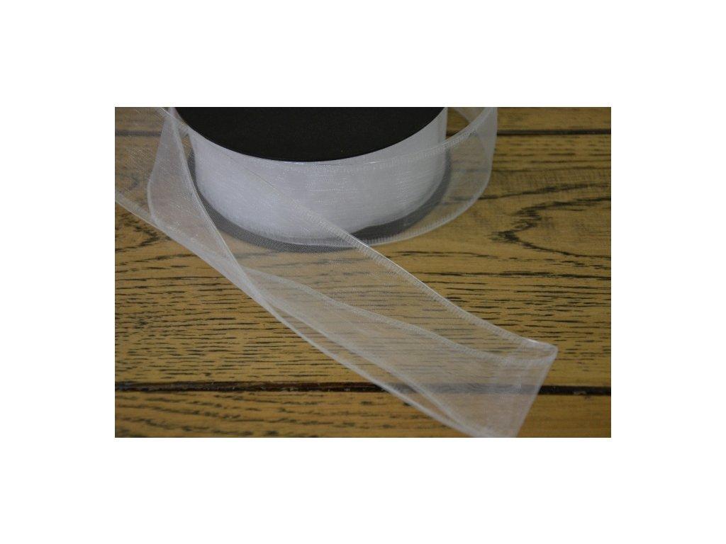 CERINO Aranžovací stuha s drátkem šíře 4cm bílá 2m