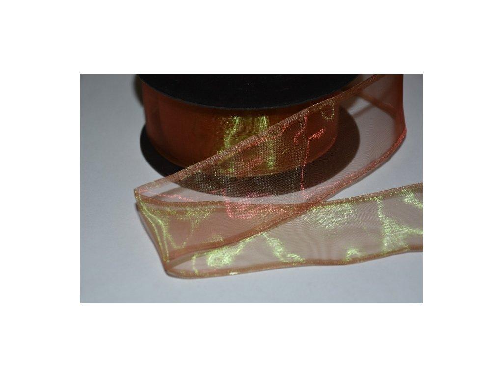 CERINO Aranžovací stuha s drátkem šíře 4cm hnědá duhová 2m