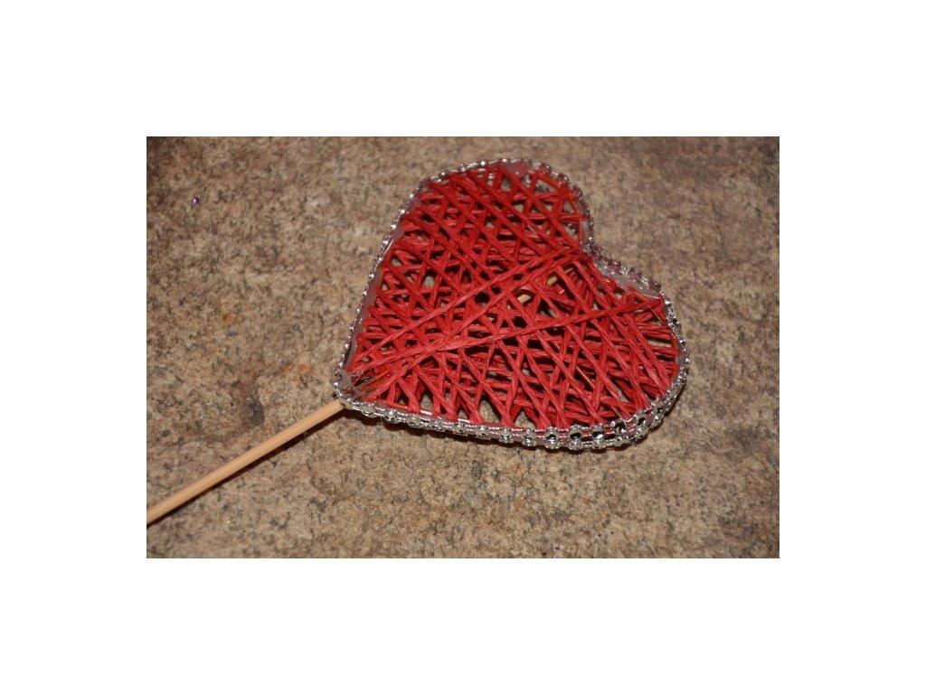 CERINO Pedig srdce zápich 9cm (27cm) červené
