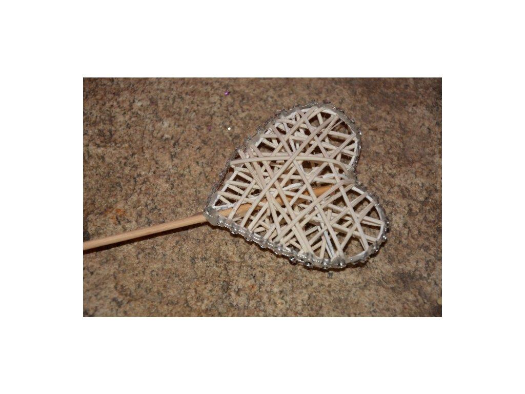 CERINO Pedig srdce zápich 7cm (22cm) přírodní zdobený lem