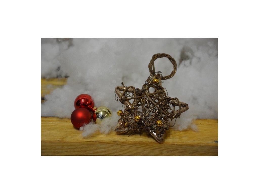 CERINO Dekorační hvězda malá 8cm zlaté perly