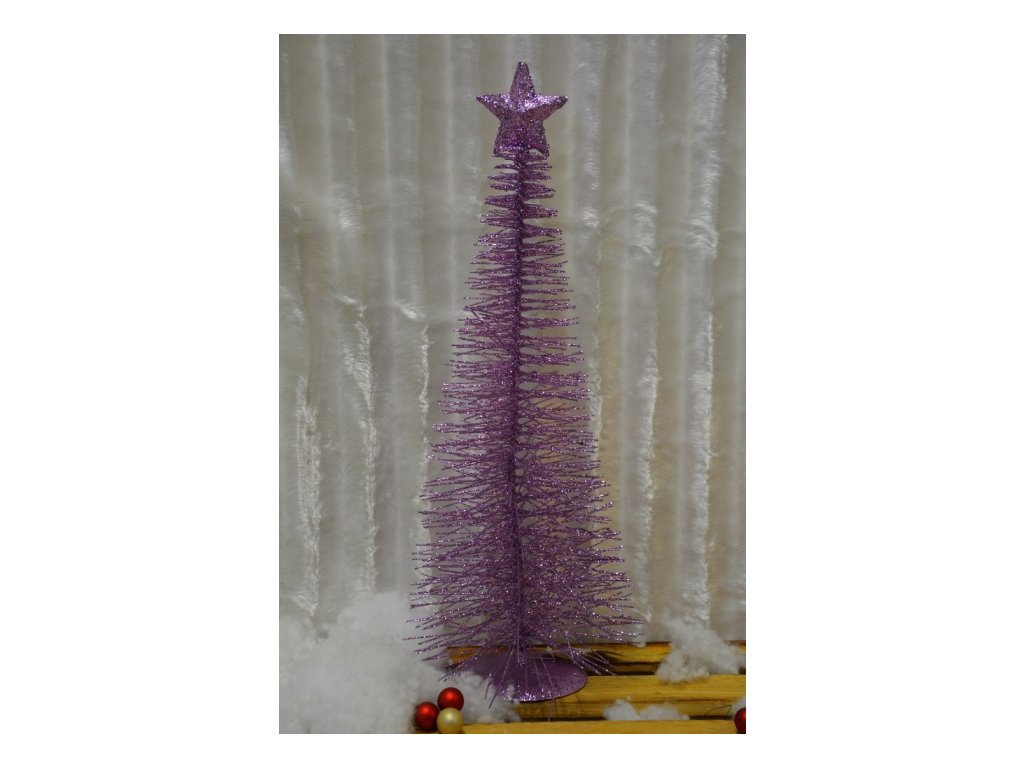 CERINO Vánoční stromeček kovový 50cm světle fialový
