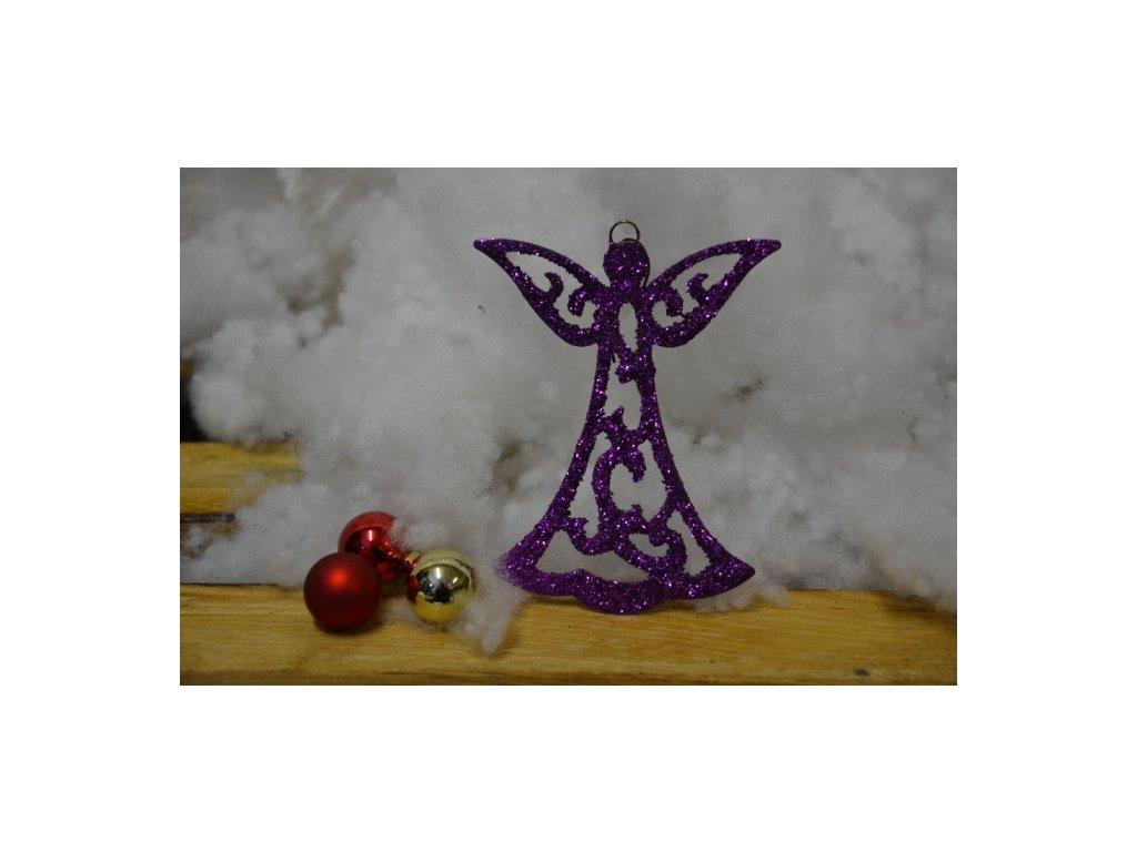 CERINO Ozdoba vánoční anděl 10cm fialový