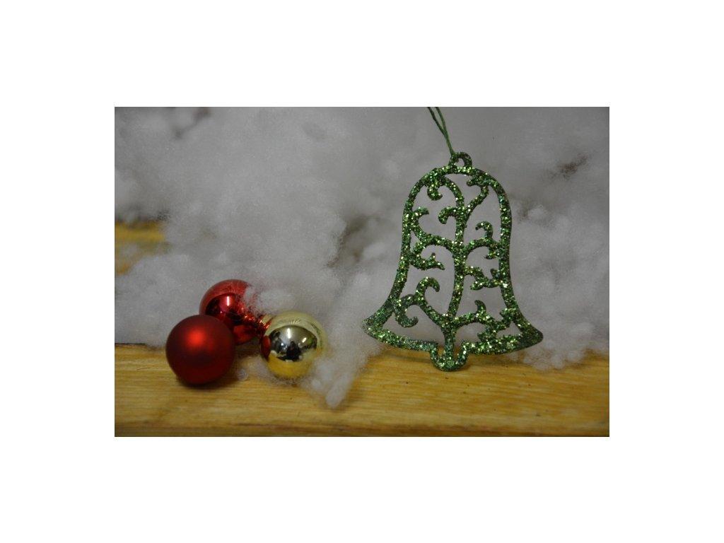 CERINO Ozdoba vánoční zvoneček 6,5cm zelený