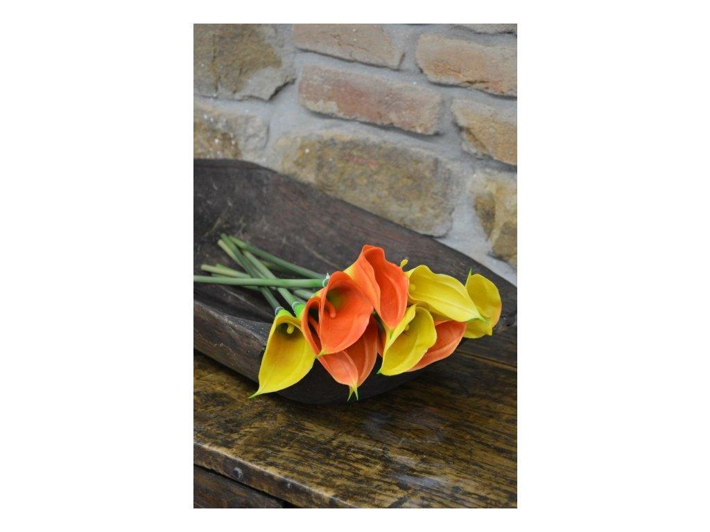 CERINO Umělá květina Kala 66cm oranžová