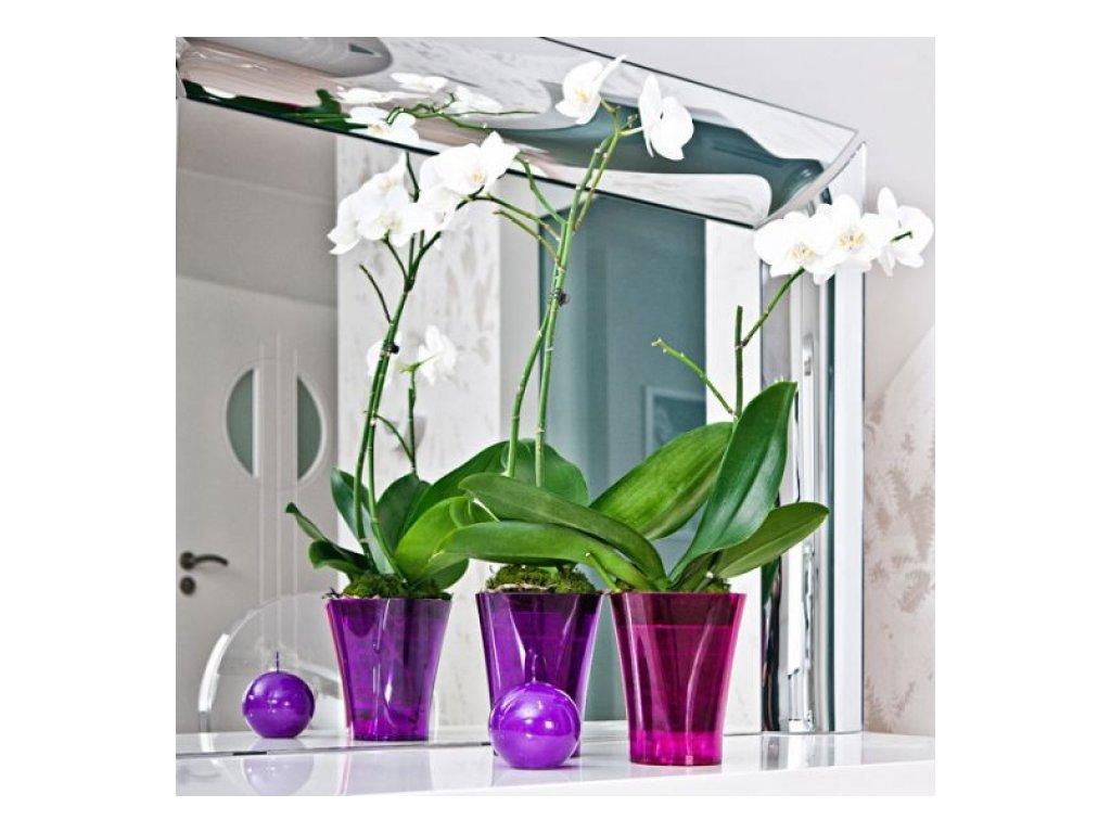 Don-plast květináč na orchidei slim výška 16,5cm růžová transparentní