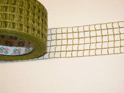 CERINO Aranžovací stuha mřížka šíře 5cm brčálová. 1m