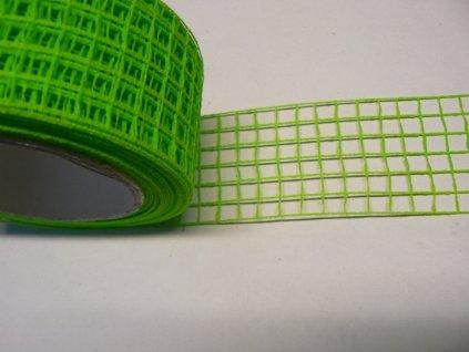 Aranžovací stuha mřížka šíře 5cm limetka 1m