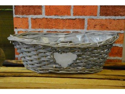 CERINO Proutěný košík / květináč 38x20x12, šedý se srdcem