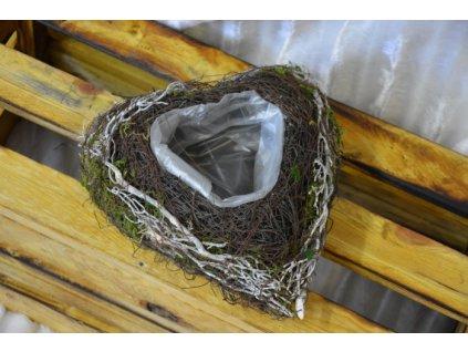 CERINO Přírodní srdce z proutí s mechem 20cm