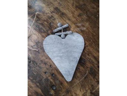 CERINO Dřevěné srdce SCANDI 10cm x 9cm