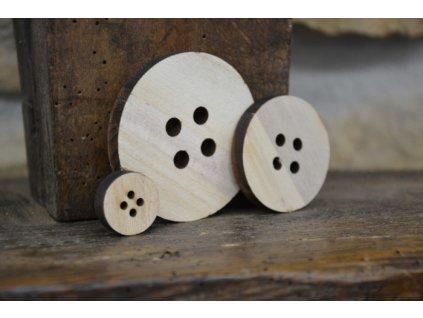 CERINO Dekorační knoflík dřevěný 2cm průměr, přírodní